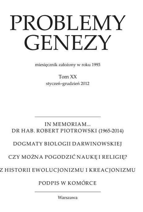 Problemy Genezy, Tom XX 2012